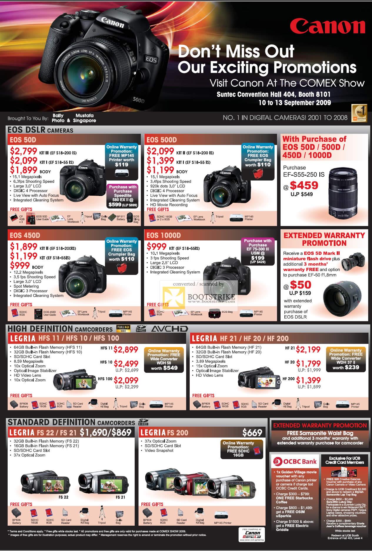 Comex 2009 price list image brochure of Canon EOS DSLR 50D 500D 450D 1000D Cameras HD Camcorders Legria