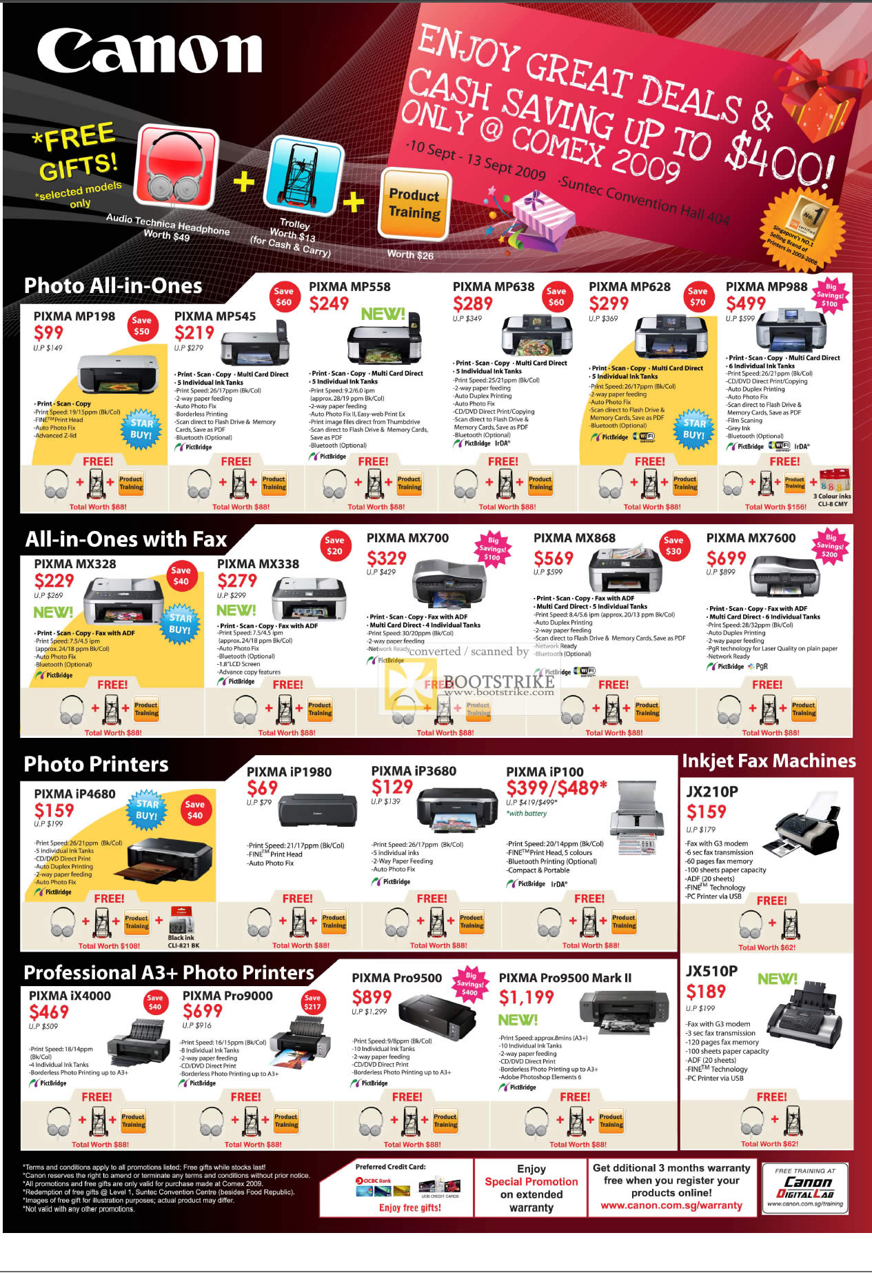 Comex 2009 price list image brochure of Canon Inkjet Printers Photo All-In-One Fax Professional A3