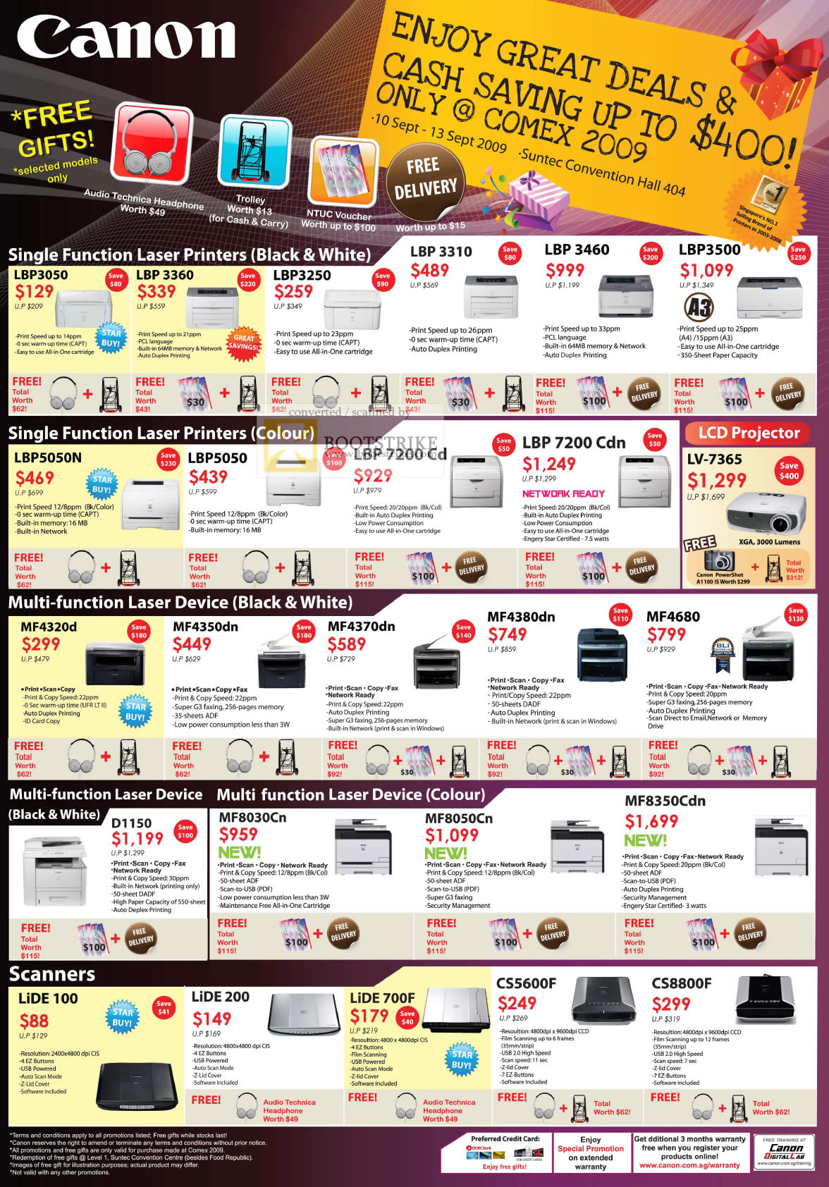 Comex 2009 price list image brochure of Canon Laser Printers Colour Multi Function Scanners