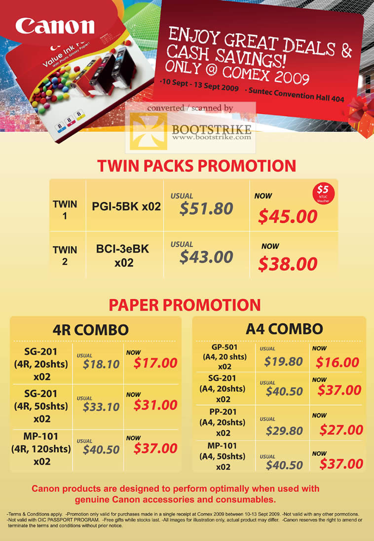 Comex 2009 price list image brochure of Canon Paper 4R A4 Twin Packs PGI-5BK BCI-3eBK