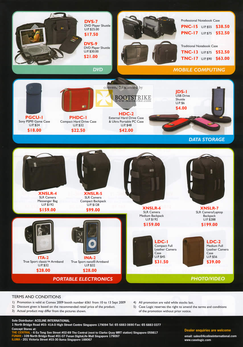 Comex 2009 price list image brochure of Caselogic Bags DVD Mobile Computing Data Storage Photo Video Electronics