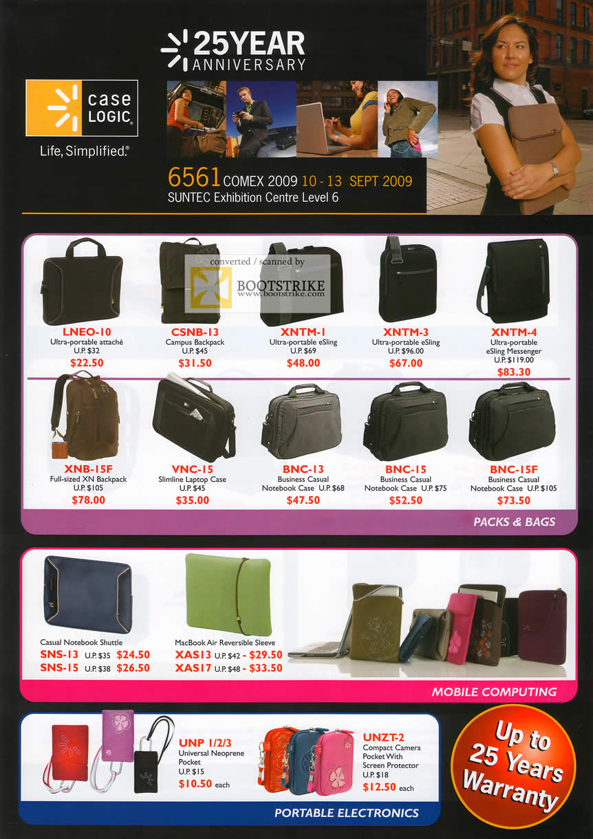 Comex 2009 price list image brochure of Caselogic Packs Bags Mobile Computing Portable Electronics