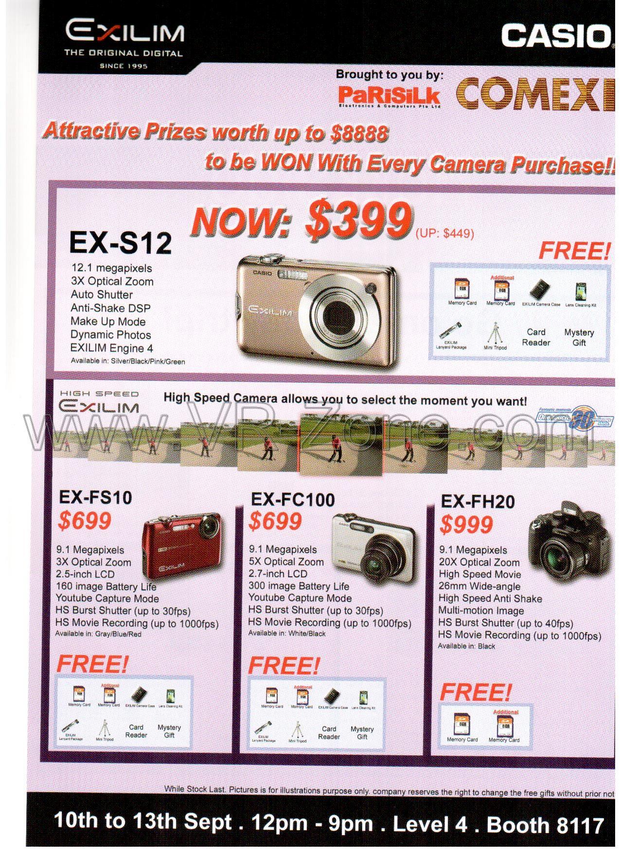Comex 2009 price list image brochure of Casio Exilim EX-S12 EX-FS10 EX-FC100 EX-FH20