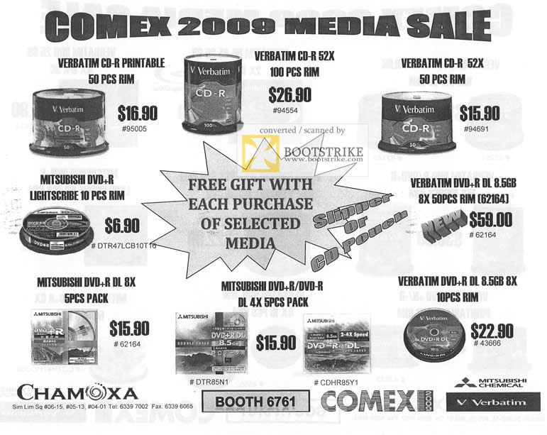 Comex 2009 price list image brochure of Chamoxa CDR DVDR Media