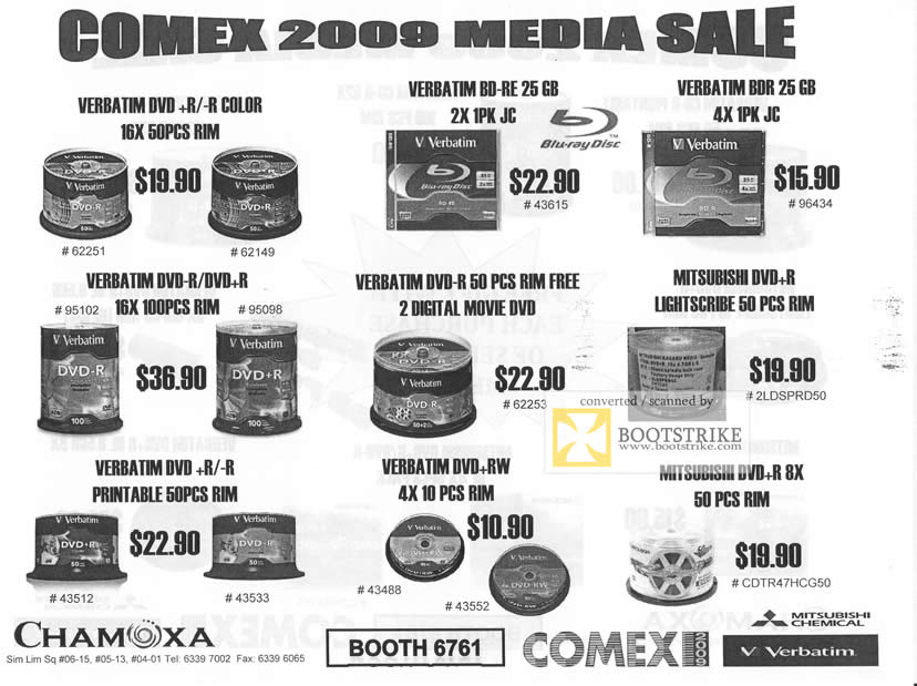 Comex 2009 price list image brochure of Chamoxa DVD-R BD-RE BDR Disc Media