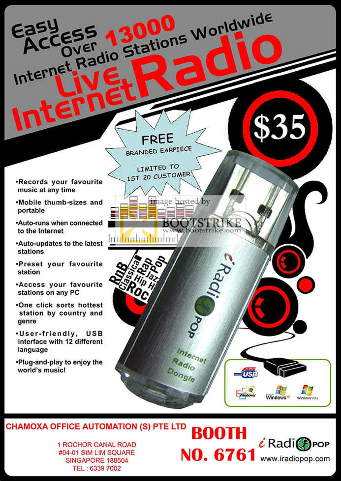 Comex 2009 price list image brochure of Chamoxa IRadiopop Internet Radio Dongle USB