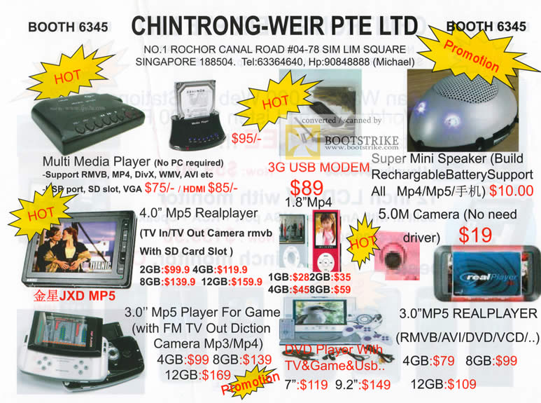 Comex 2009 price list image brochure of Chintrong-Weir Multi Media Player Mp5 Real Player Speaker