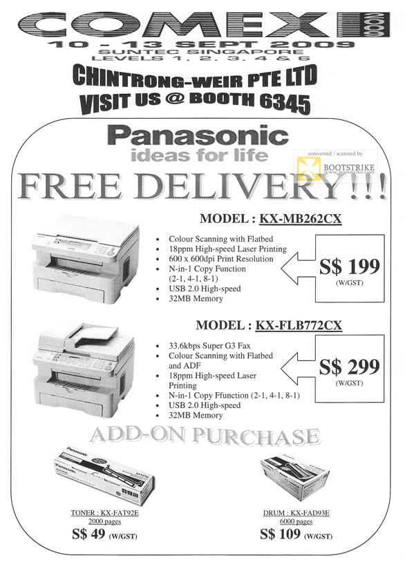 Comex 2009 price list image brochure of Chintrong-Weir Panasonic Printers KX