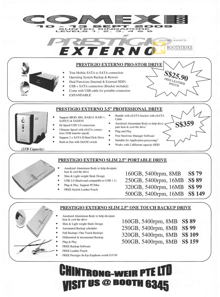 Comex 2009 price list image brochure of Chintrong-Weir Prestigio Externo External Storage