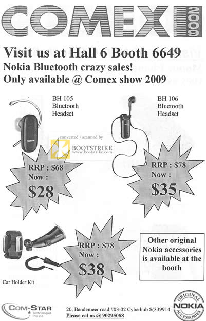 Comex 2009 price list image brochure of Com-Star Bluetooth Headset Nokia Accessories Car Holder