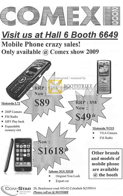 Comex 2009 price list image brochure of Com-Star Mobile Phone Motorola L72 IPhone 3GS 32GB W215