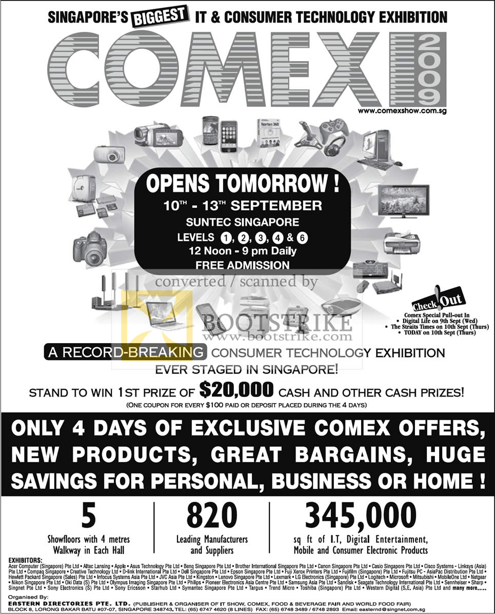 Comex 2009 price list image brochure of Comex IT Consumer Exhibition Exhibitors At Suntec