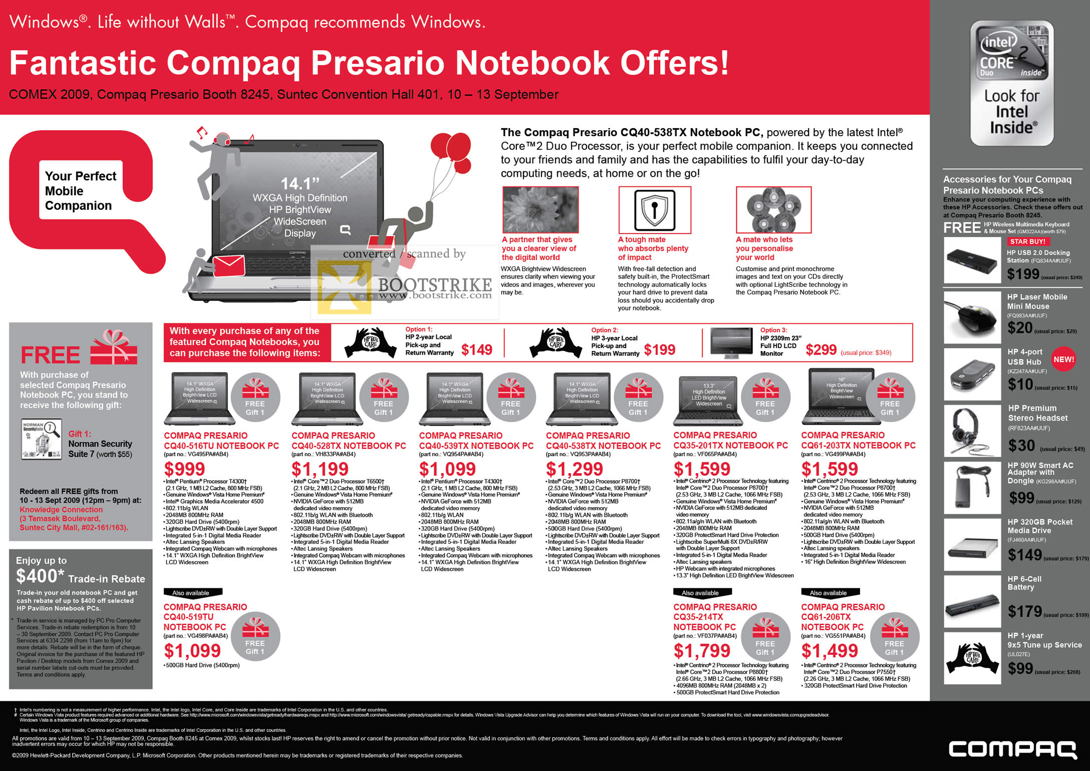 Comex 2009 price list image brochure of Compaq Presario Notebook PC CQ40 CQ35 CQ61