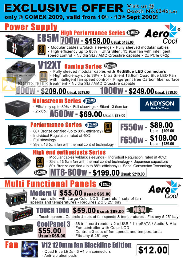 Comex 2009 price list image brochure of Convergent Aerocool Power Supply Andyson Fan Panels B6346