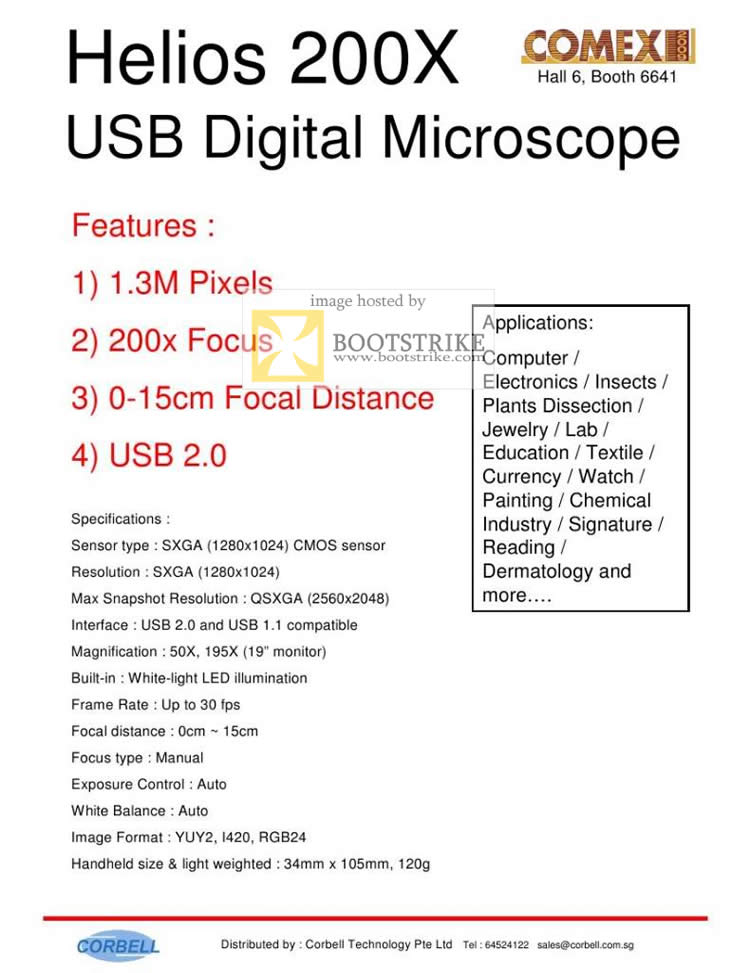 Comex 2009 price list image brochure of Corbell Helios 200X USB Digital Microscope