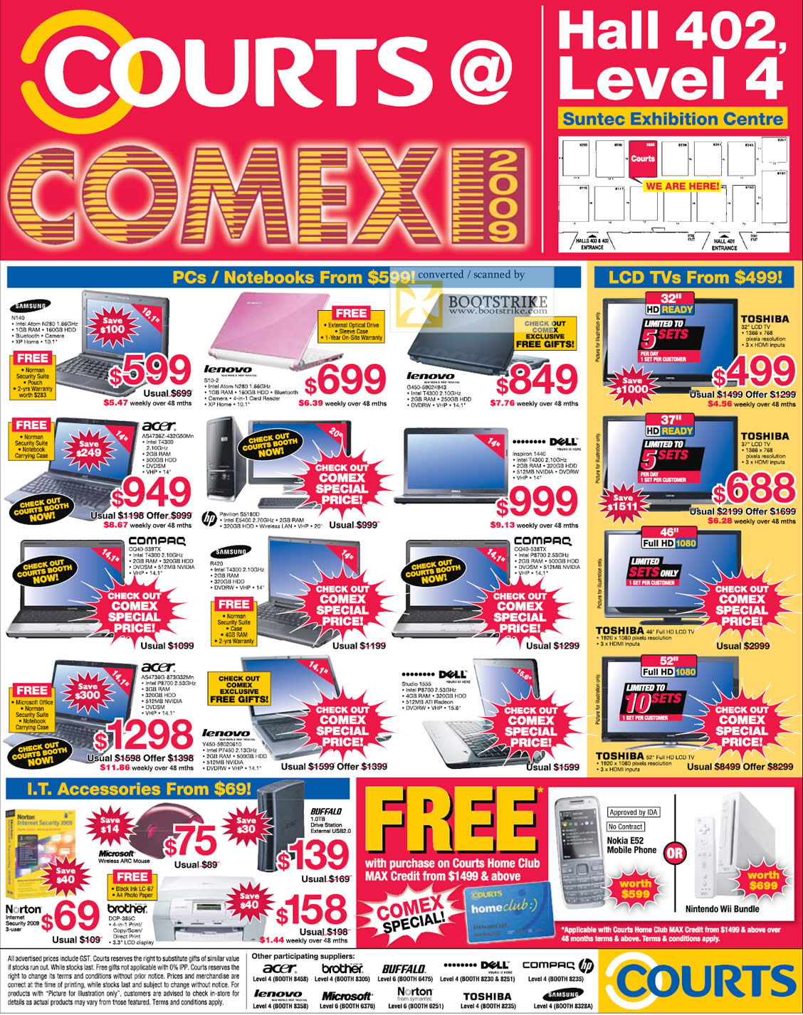 Comex 2009 price list image brochure of Courts Desktops Notebooks Samsung Lenovo Acer Compaq Dell HP Toshiba LCD TV Norton