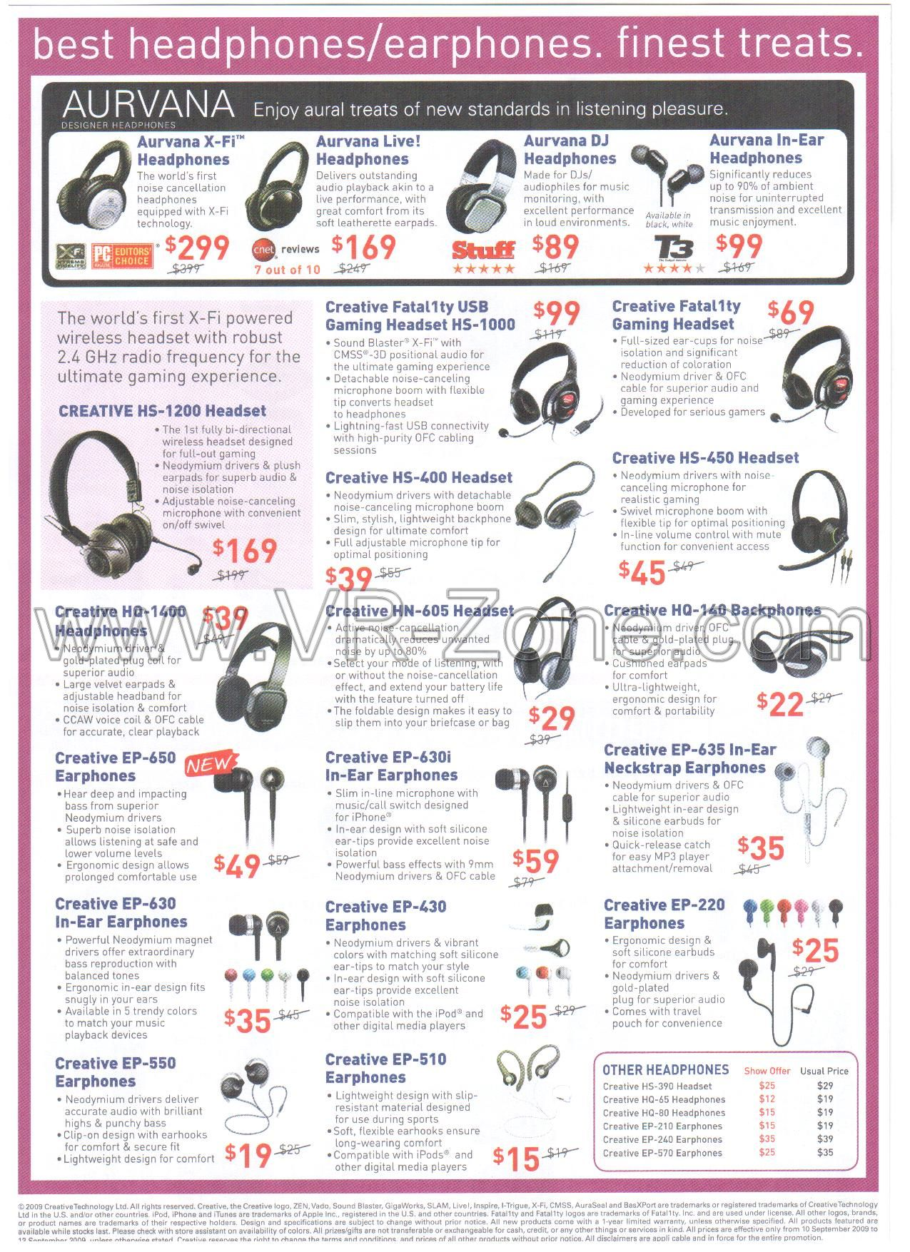 Comex 2009 price list image brochure of Creative Headphones Earphones Aurvana Headset EP