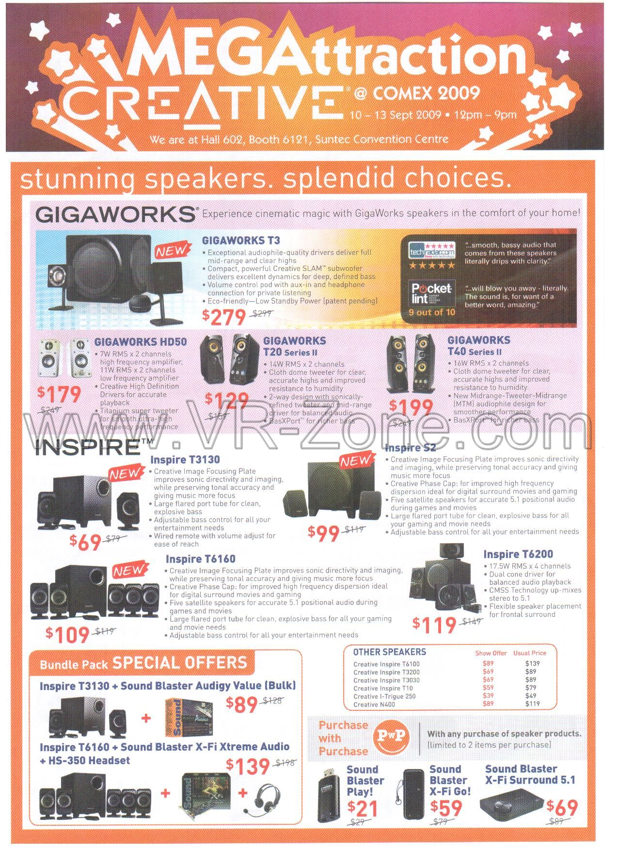 Comex 2009 price list image brochure of Creative Speakers Gigaworks Inspire X-Fi