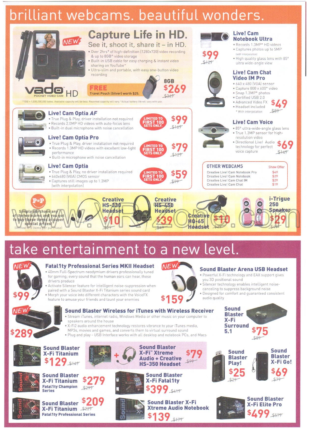 Comex 2009 price list image brochure of Creative Webcam Vado Live Fatal1ty SoundBlaster X-Fi