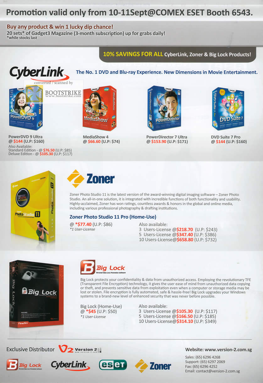 Comex 2009 price list image brochure of Cyberlink PowerDVD MediaShow PowerDirector DVD Suite Zoner Big Lock