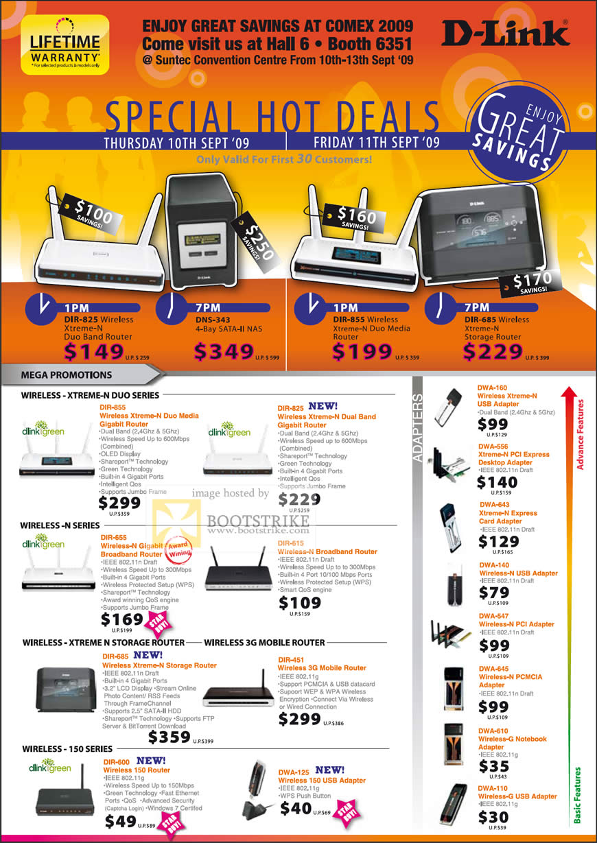 Comex 2009 price list image brochure of D-Link Wireless Xtreme N Duo Storage Mobile 3G Router Adaptors