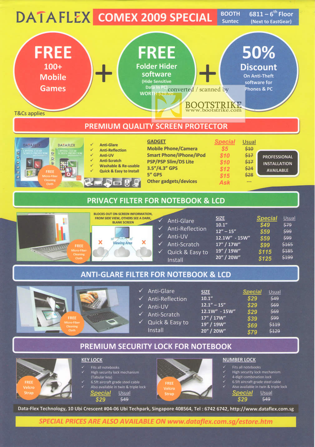 Comex 2009 price list image brochure of Dataflex Screen Protector Privacy Filter Anti-Glare Security Lock