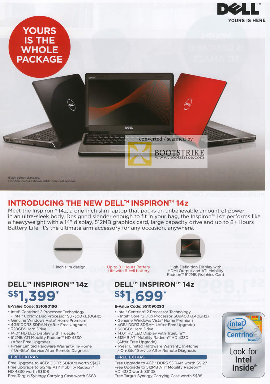 Comex 2009 price list image brochure of Dell Notebook Inspiron 14z