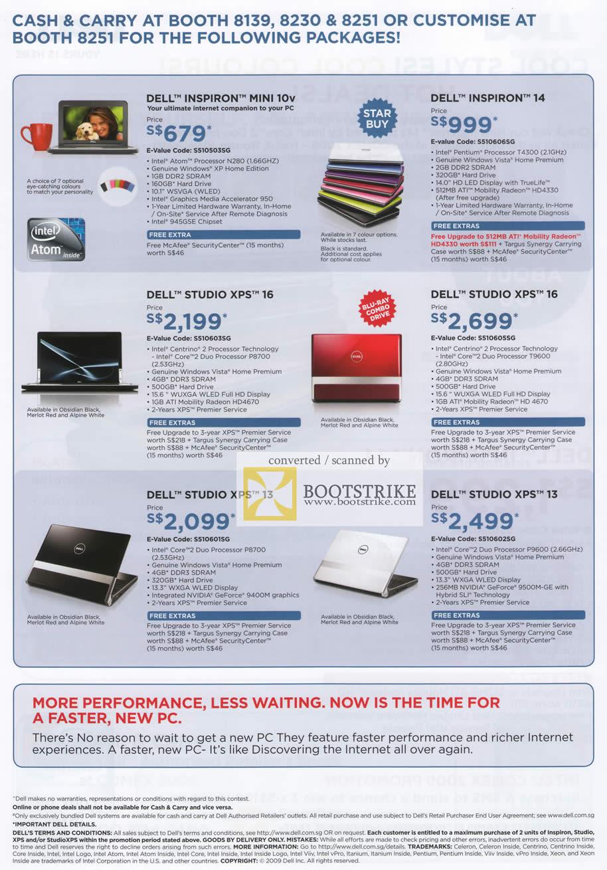 Comex 2009 price list image brochure of Dell Notebooks Inspiron Mini 10v 14 Studio XPS 16 13