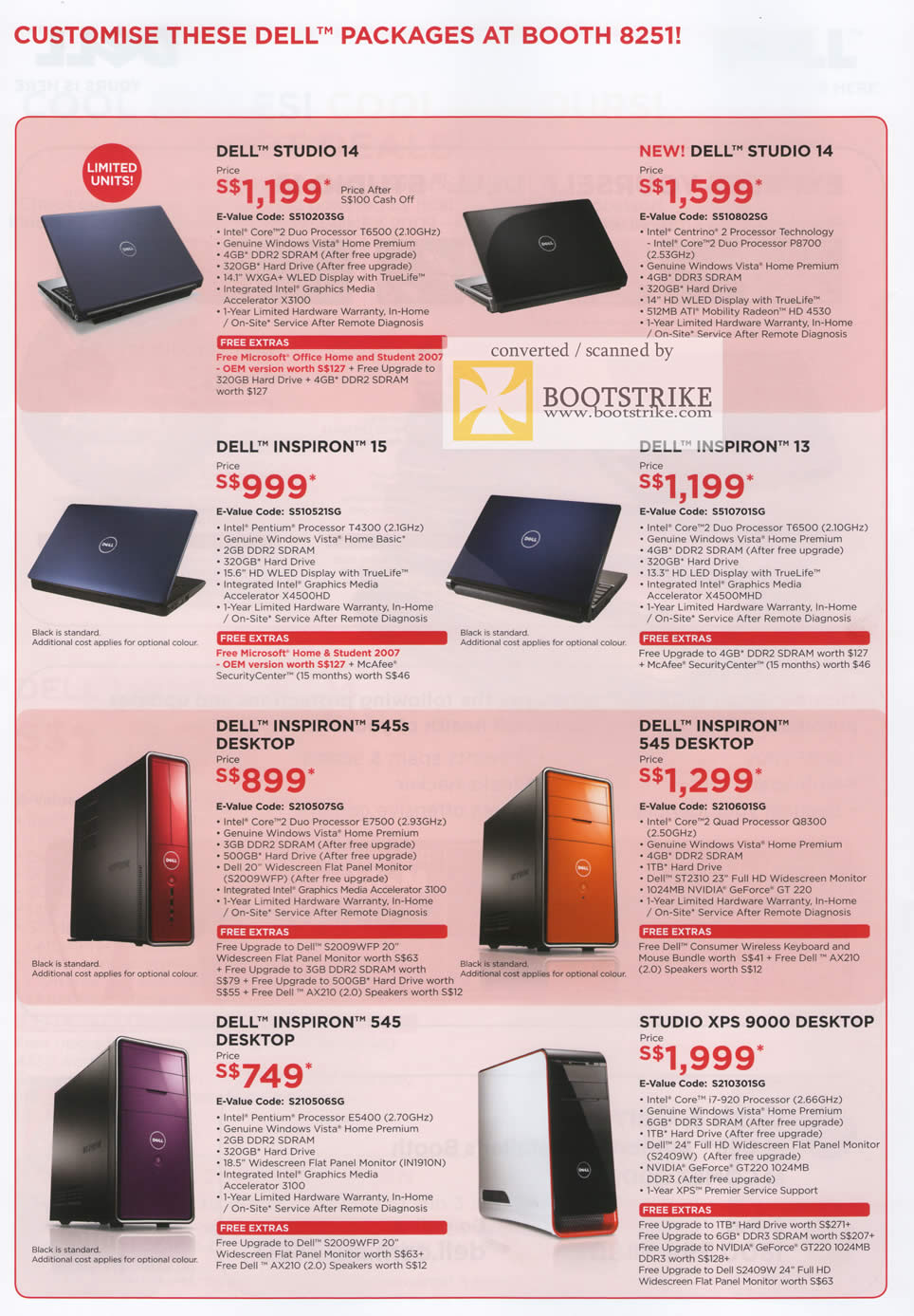 Comex 2009 price list image brochure of Dell Notebooks Studio 14 Inspiron 15 13 Desktop 545s 545 XPS 9000