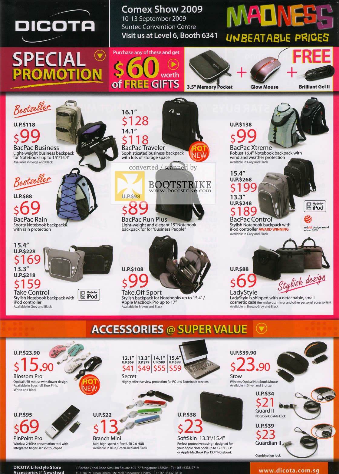 Comex 2009 price list image brochure of Dicota Bags BacPac Accessories Blossom Secret