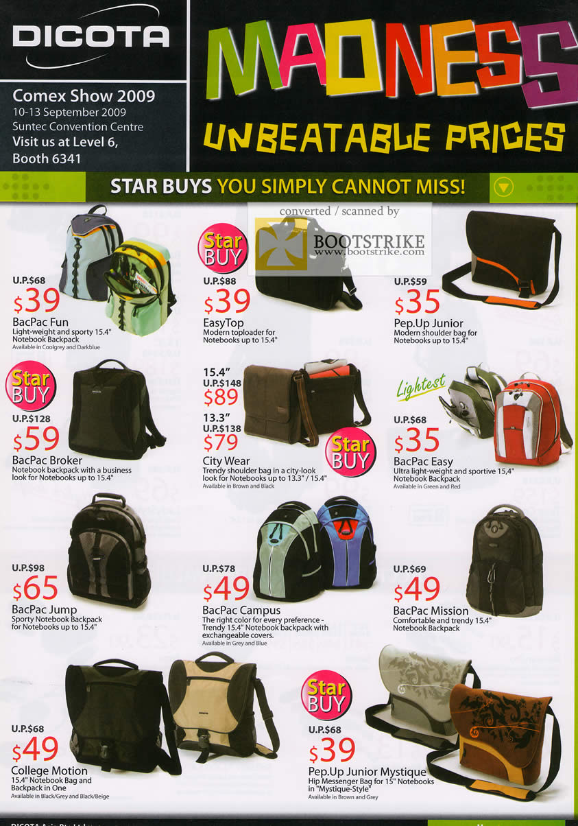 Comex 2009 price list image brochure of Dicota Bags BacPac EasyTop