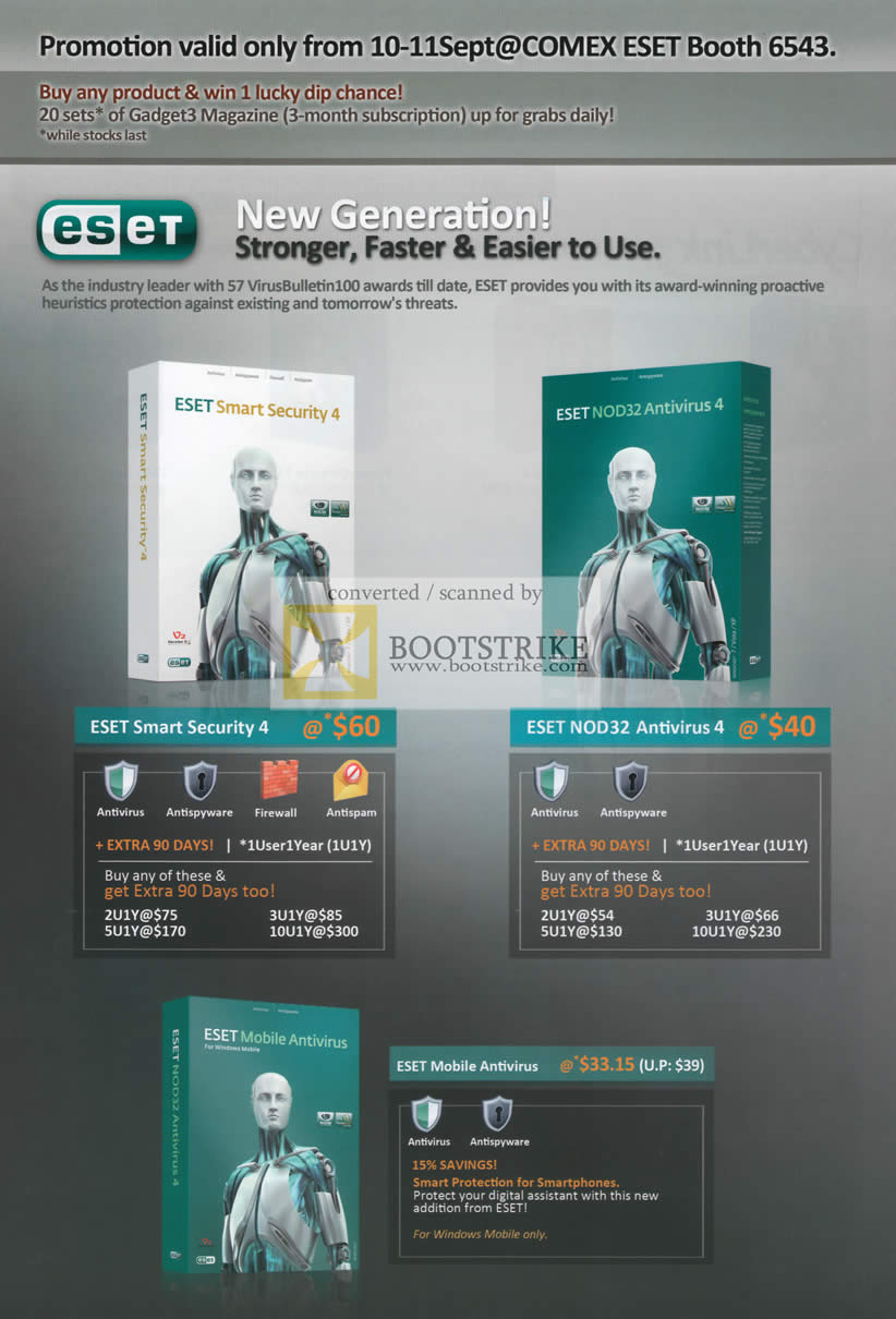Comex 2009 price list image brochure of ESET Smart Security 4 NOD32 Antivirus 4 Mobile