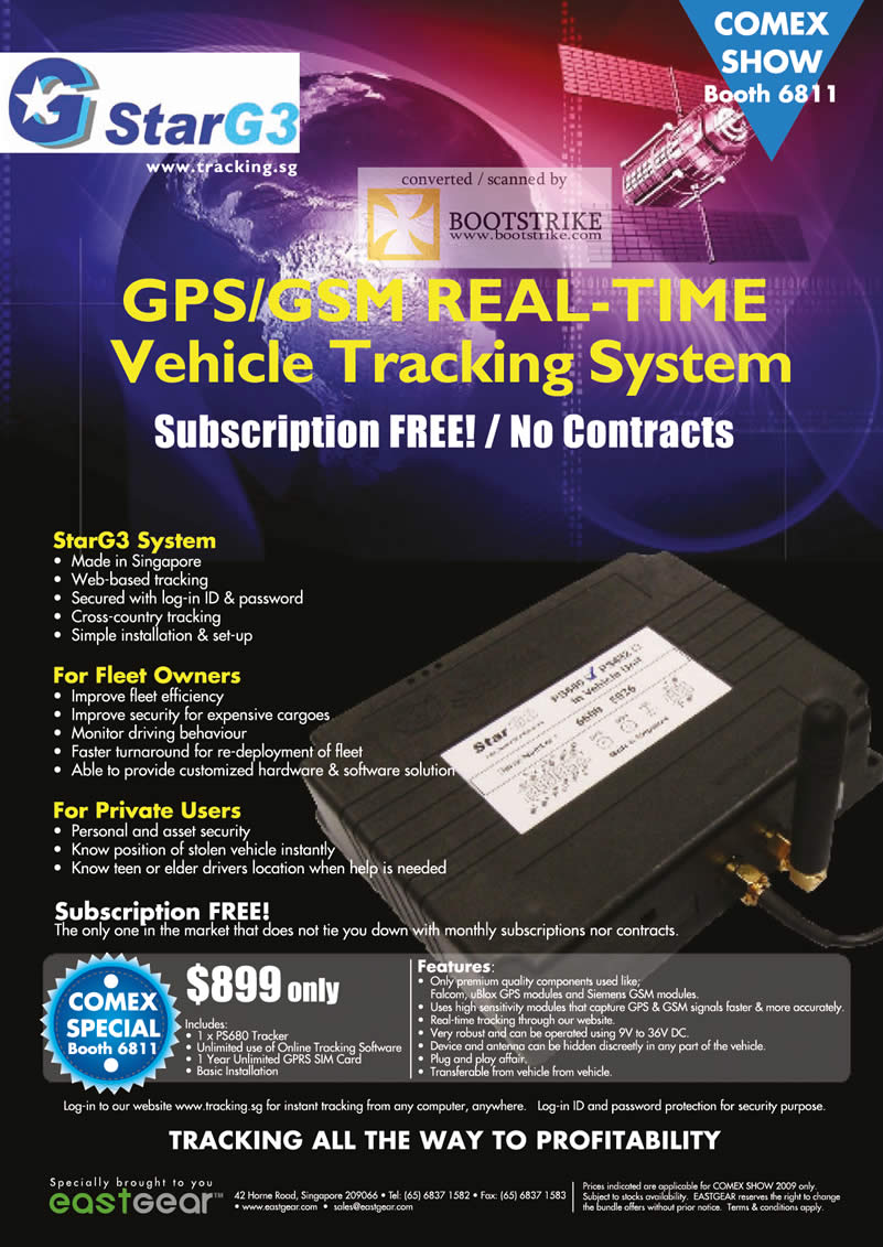 Comex 2009 price list image brochure of Eastgear GPS GSM Vehicle Tracking System StarG3