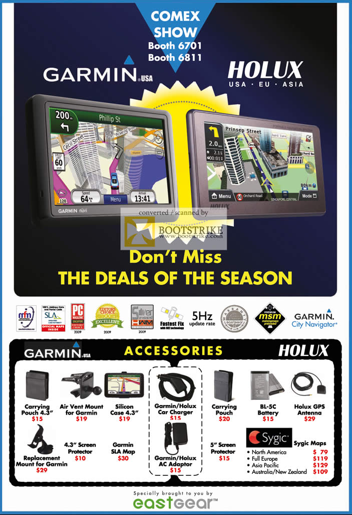 Comex 2009 price list image brochure of Eastgear Garmin Holux Accessories