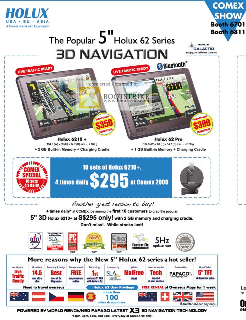 Comex 2009 price list image brochure of Eastgear Holux GPS 6210 62 Pro