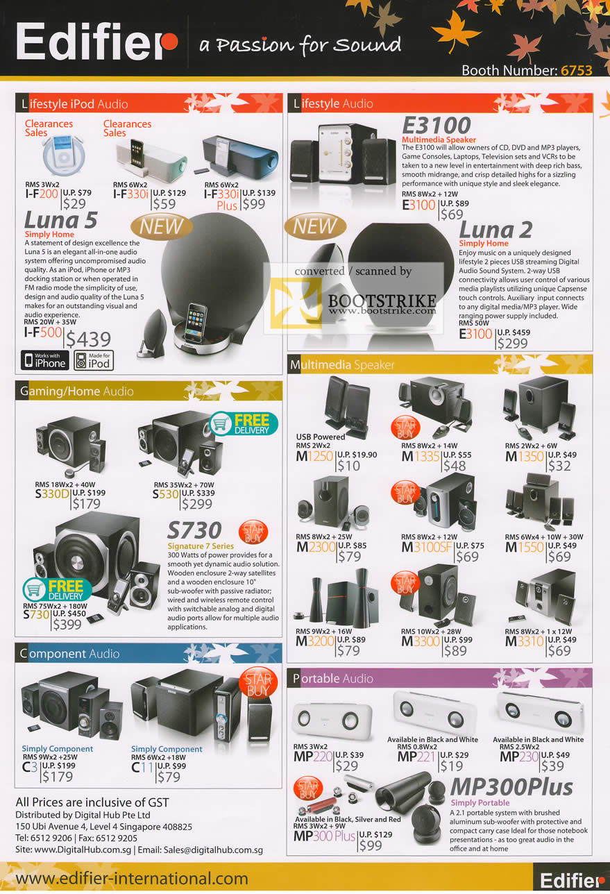 Comex 2009 price list image brochure of Edifier IPod Audio Speaker Gaming Portable MP300Plus Luna E3100
