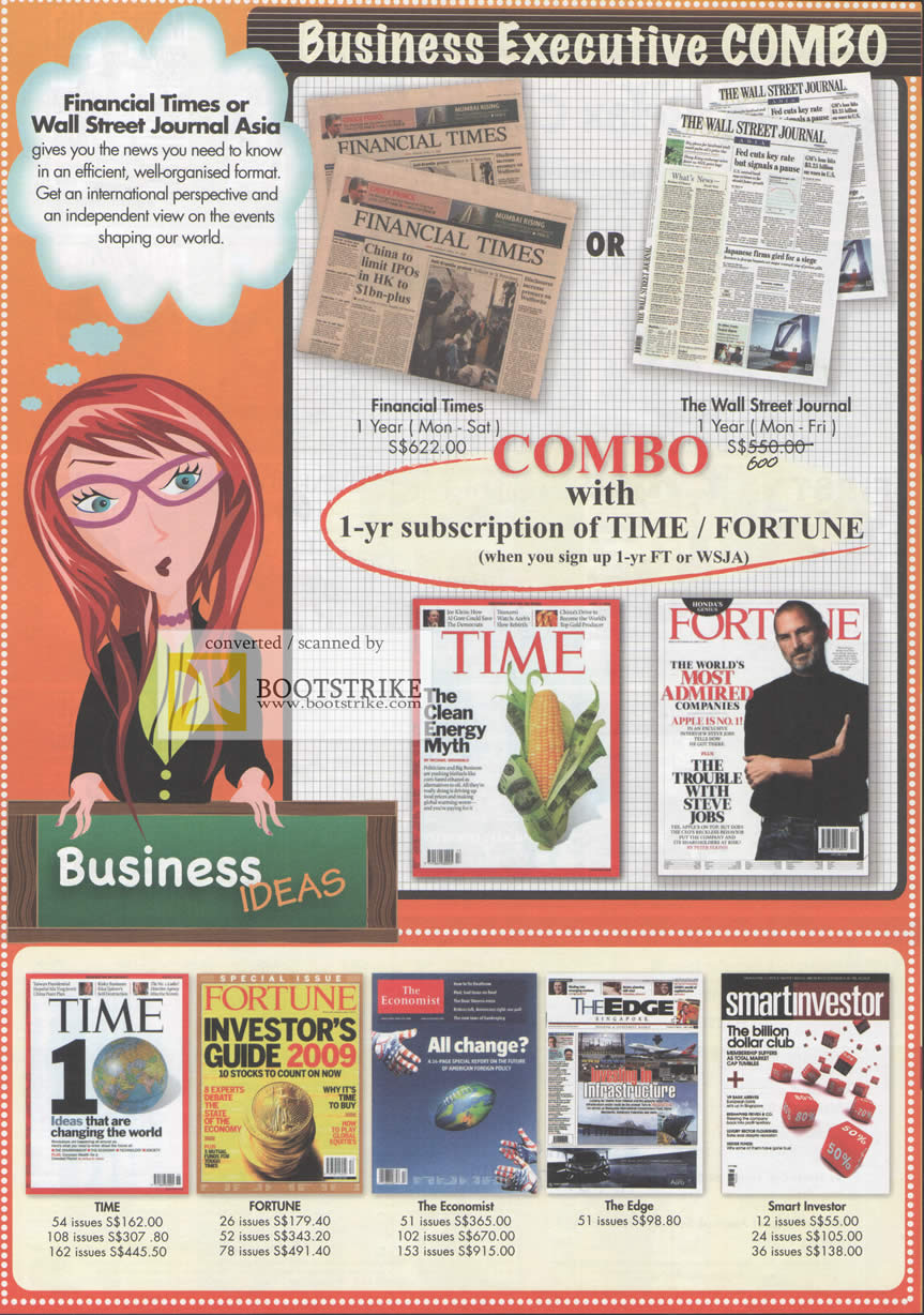 Comex 2009 price list image brochure of EmitAsia Financial Times Wall Street Journal Time Fortune Edge