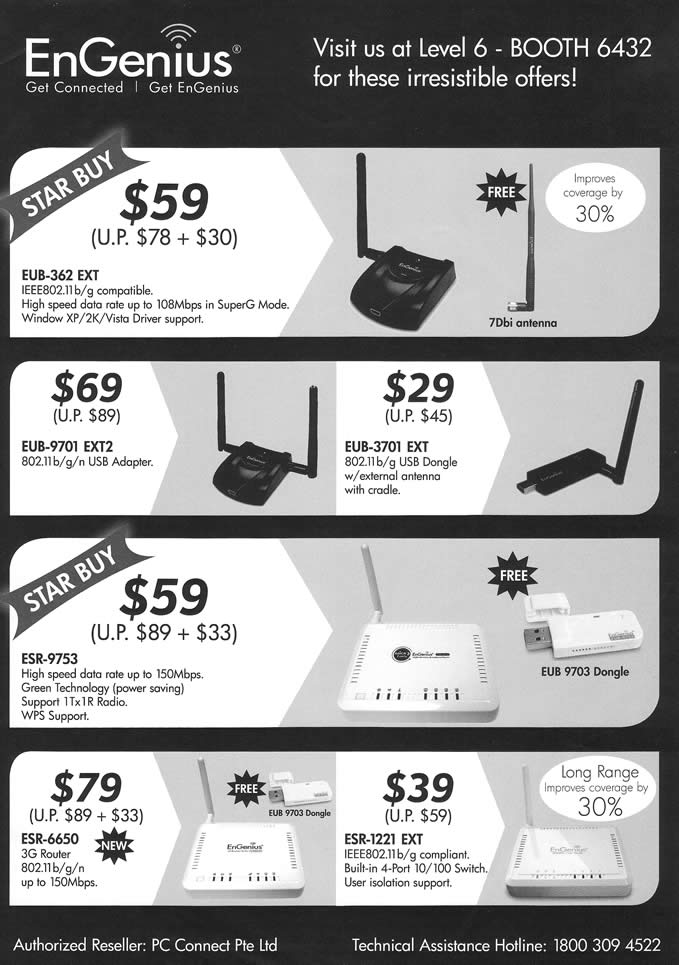 Comex 2009 price list image brochure of EnGenius Wireless Adaptor USB Router