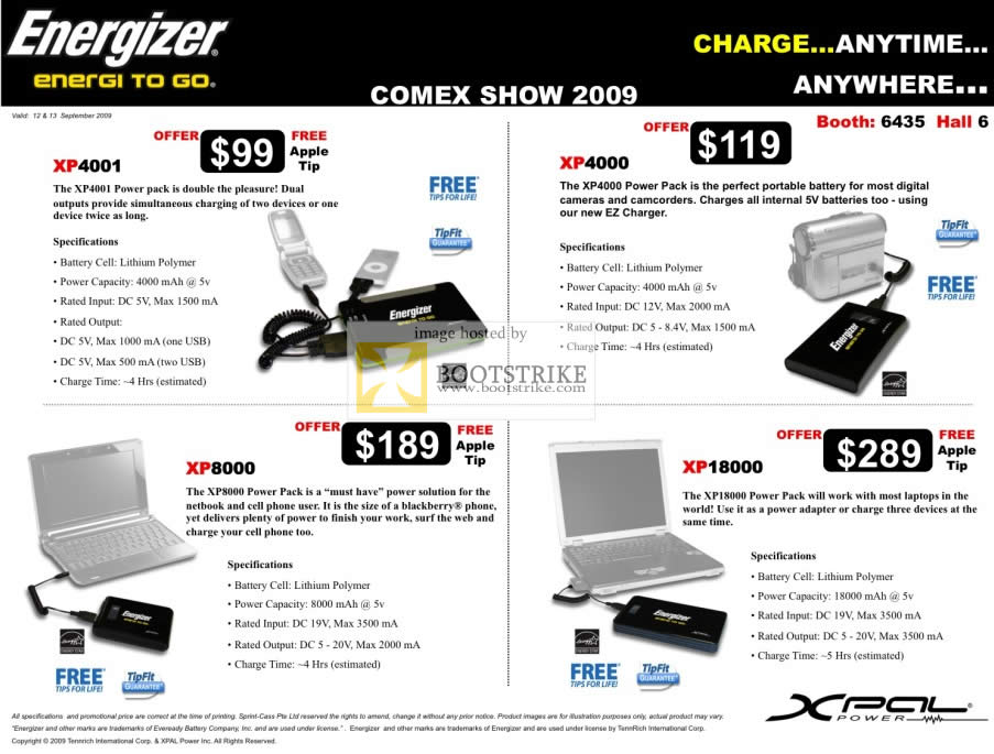 Comex 2009 price list image brochure of Energizer Charger XP4001 XP4000 XP8000 XP18000