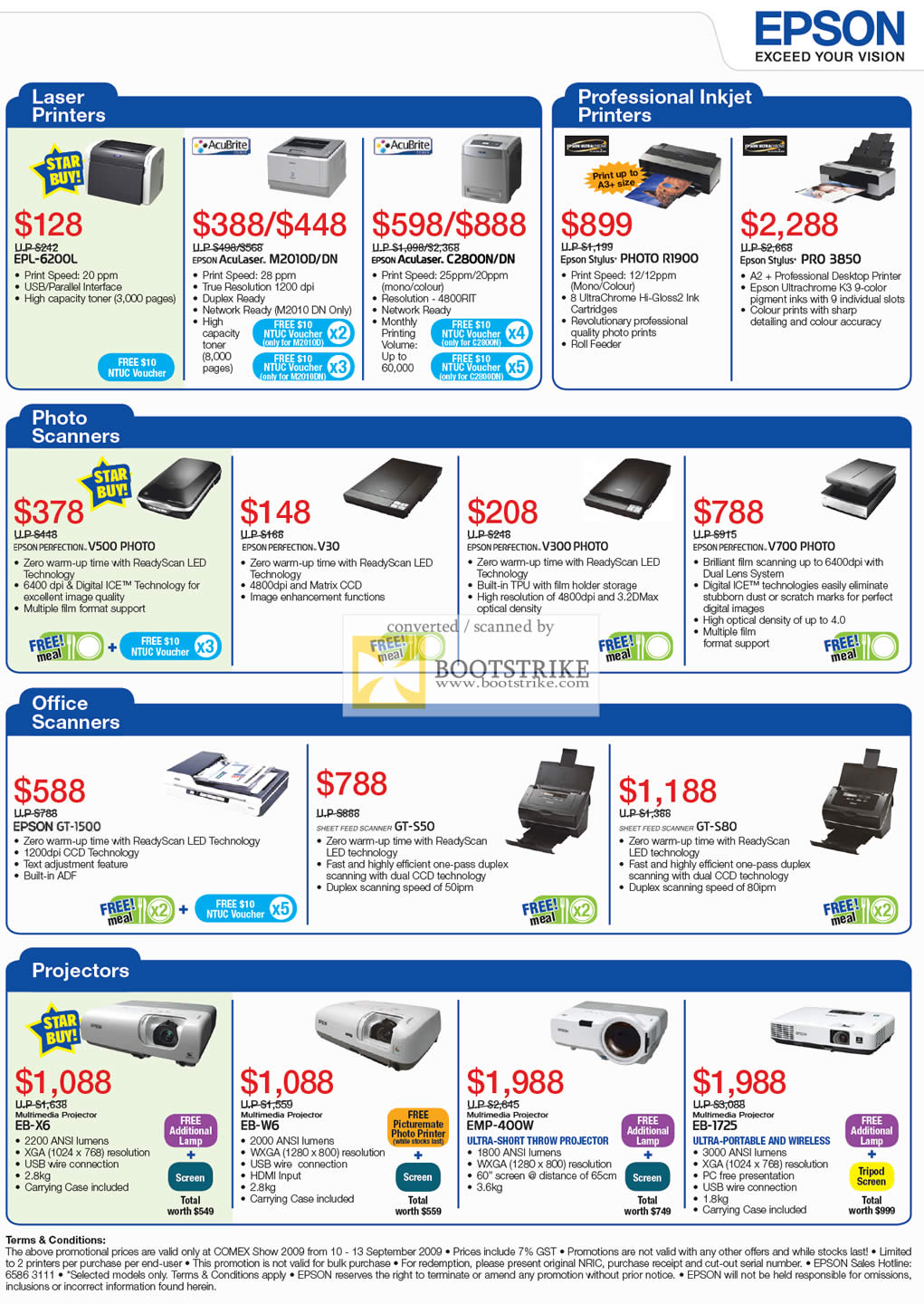 Comex 2009 price list image brochure of Epson Laser Printers Photo Scanners Office Projectors
