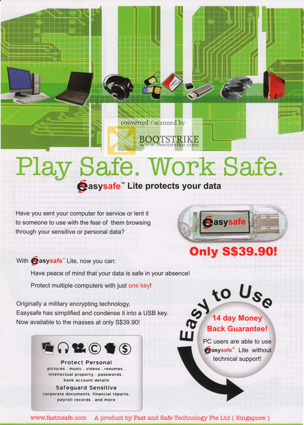 Comex 2009 price list image brochure of FastnSafe EasySafe Lite Data Protection