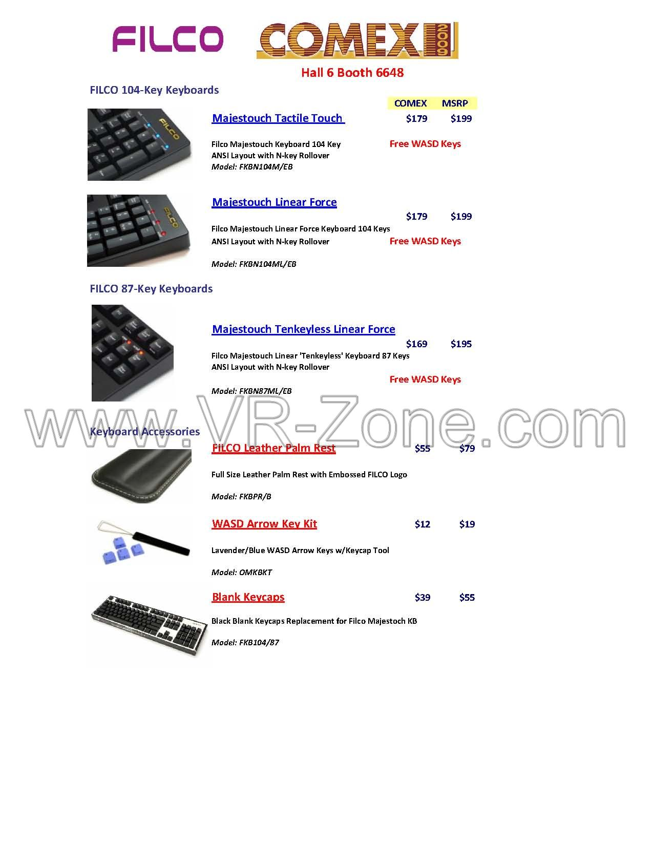 Comex 2009 price list image brochure of Filco Keyboards Accessories Majestouch Force