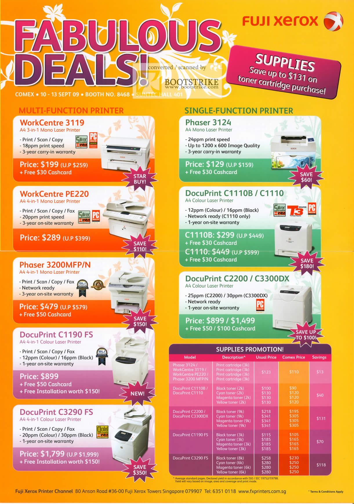 Comex 2009 price list image brochure of Fuji Xerox Printers WorkCenter Phaser DocuPrint Print Cartridge Toner