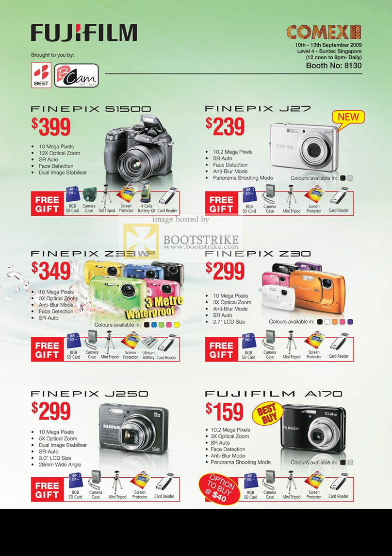 Comex 2009 price list image brochure of Fujifilm Finepix Digital Cameras S1500 J27 Z33W Z30 J250 A170