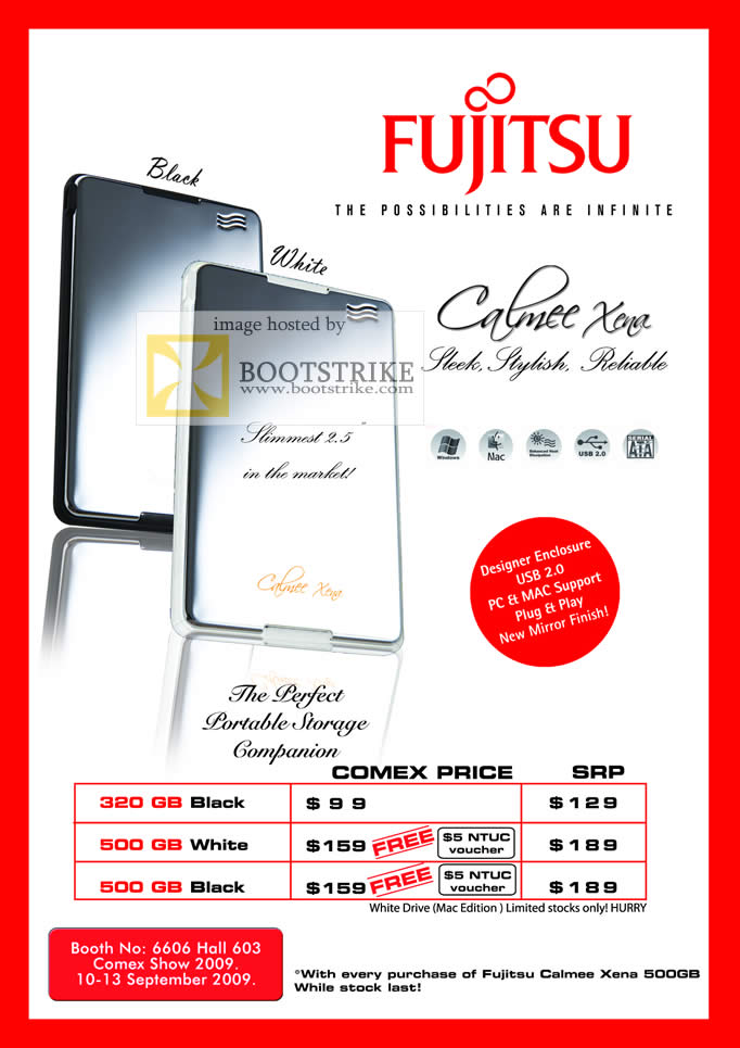 Comex 2009 price list image brochure of Fujitsu Calmee Xena External 2.5 Portable Storage