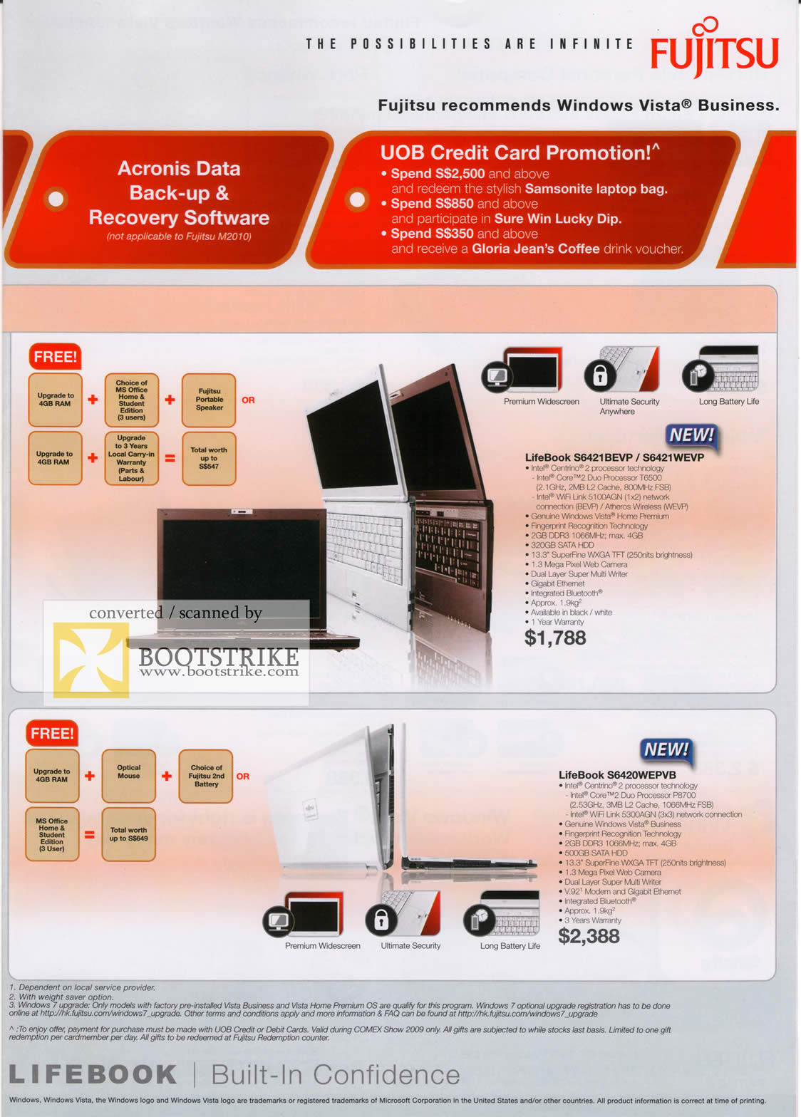 Comex 2009 price list image brochure of Fujitsu LifeBook Notebooks S6421BEVP S6421WEVP S6420WEBVB