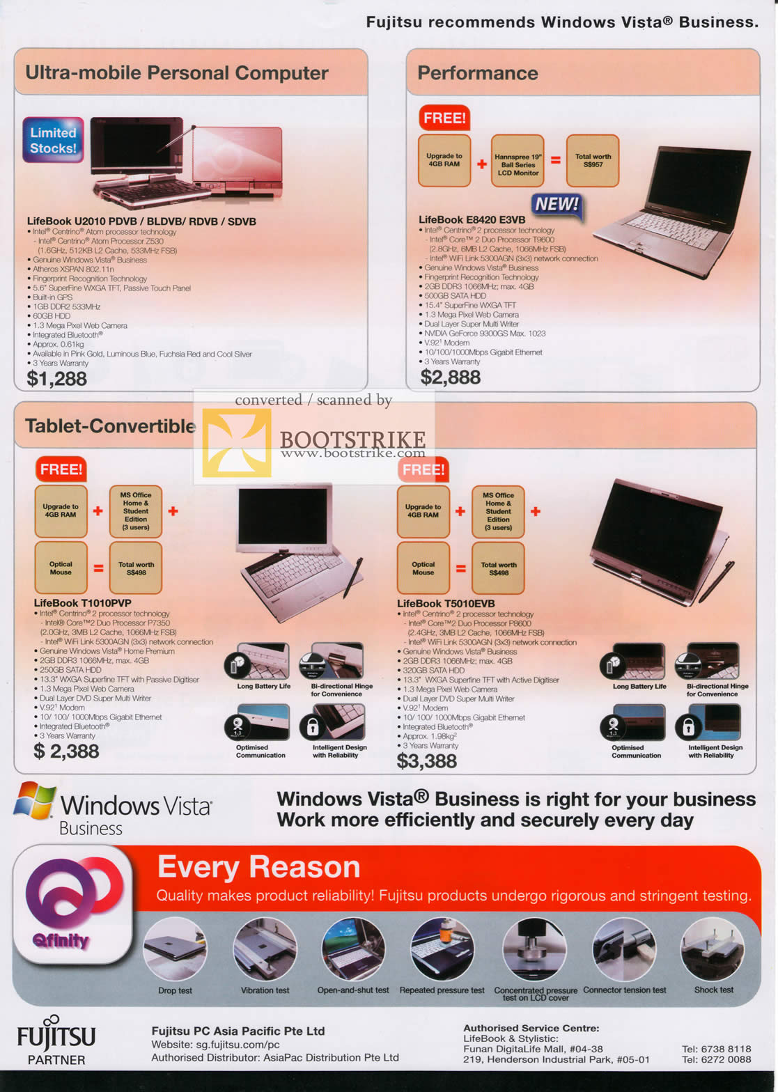 Comex 2009 price list image brochure of Fujitsu LifeBook Notebooks U2010 E8420 Tablet T1010PVP T5010EVB