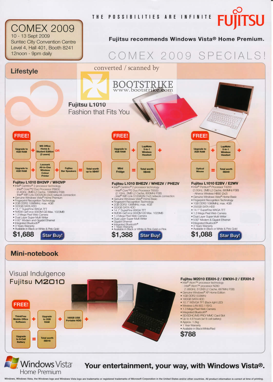 Comex 2009 price list image brochure of Fujitsu Notebook L1010 Mini M2010
