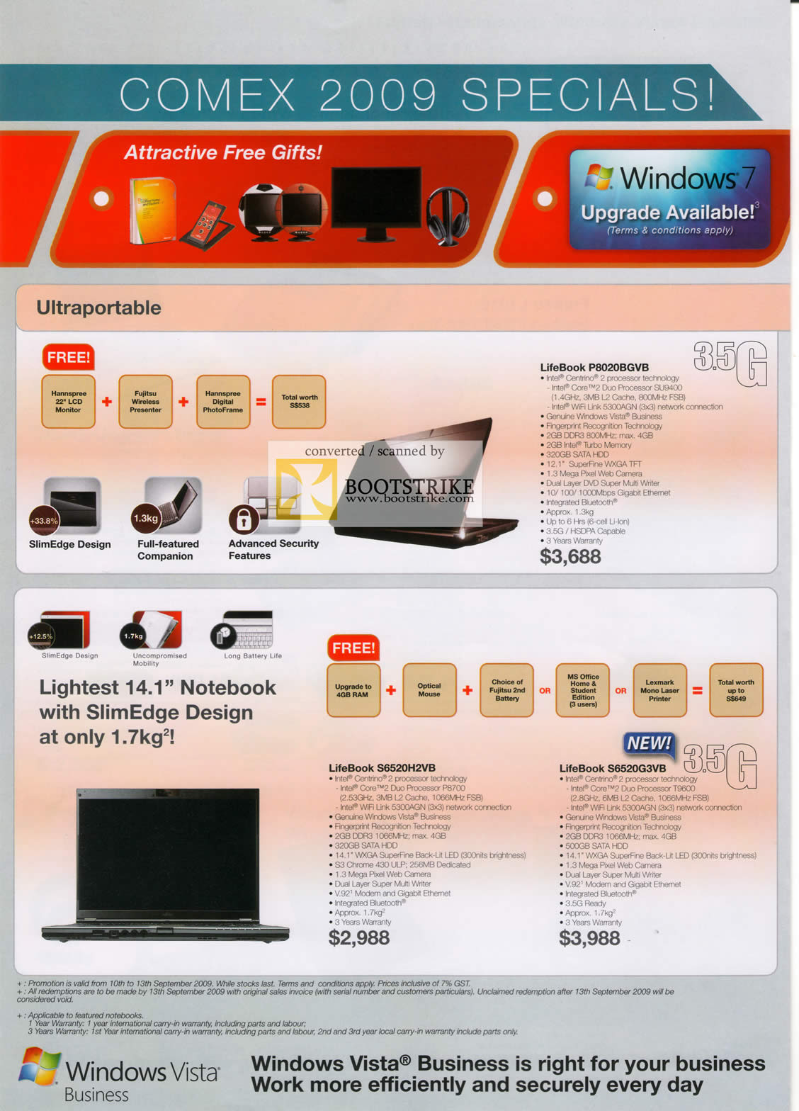 Comex 2009 price list image brochure of Fujitsu Notebooks LifeBook P8020BGVB S6520H2VB S6520G3VB SlimEdge