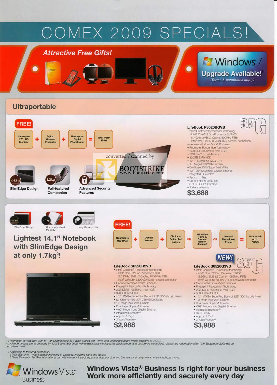 Comex 2009 price list image brochure of Fujitsu Notebooks LifeBook P8020BGVB S6520H2VB S6520G3VB SlimEdge